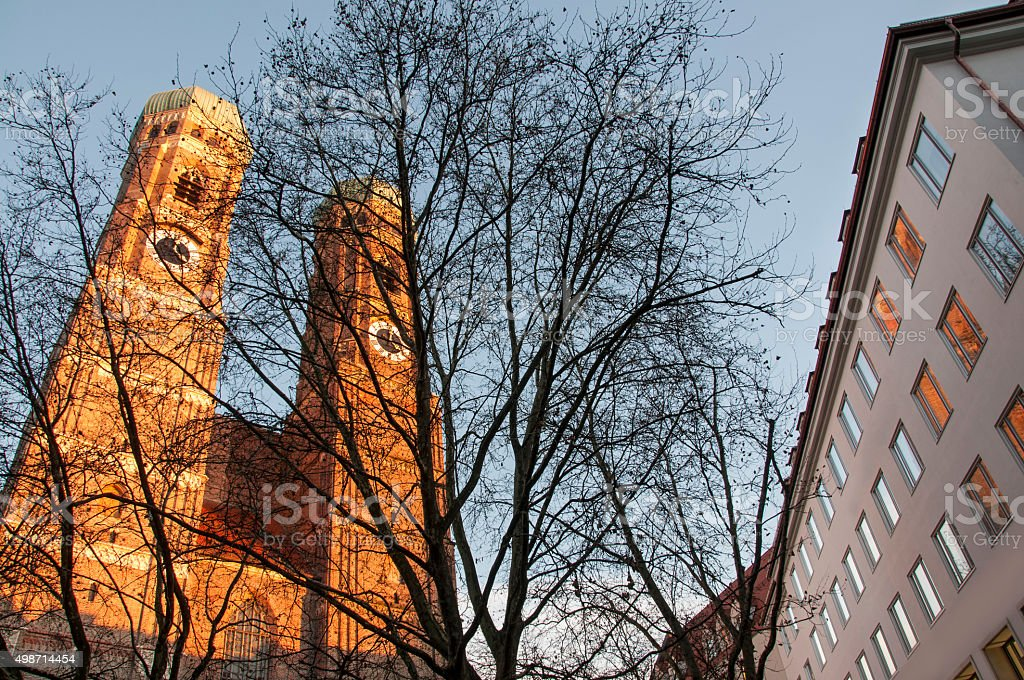 Towers of Frauenkirche in Munich stock photo