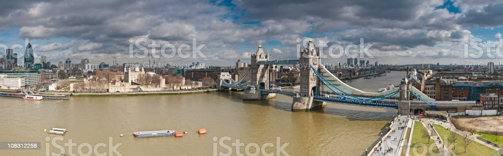 Towers of London River Thames City skyscrapers castle bridge panorama royalty-free stock photo