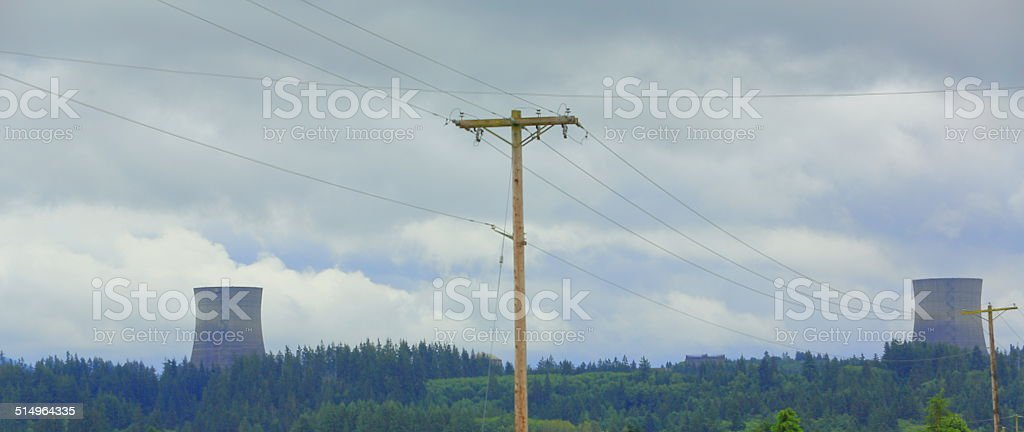 Towers of Nuclear Energy Plant stock photo