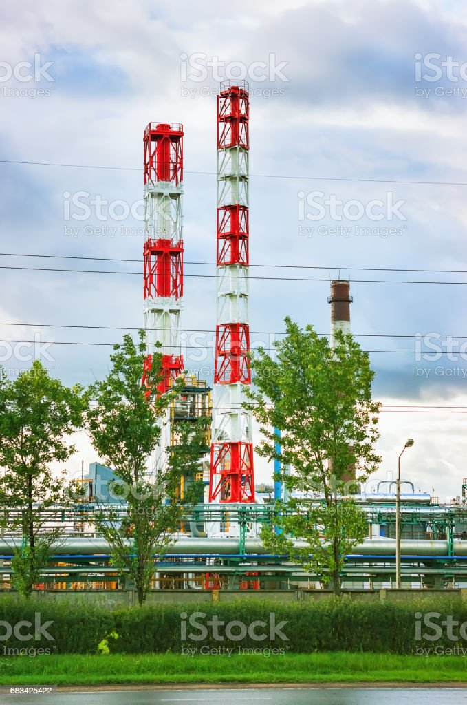 Towers Of Oil Refinery stock photo