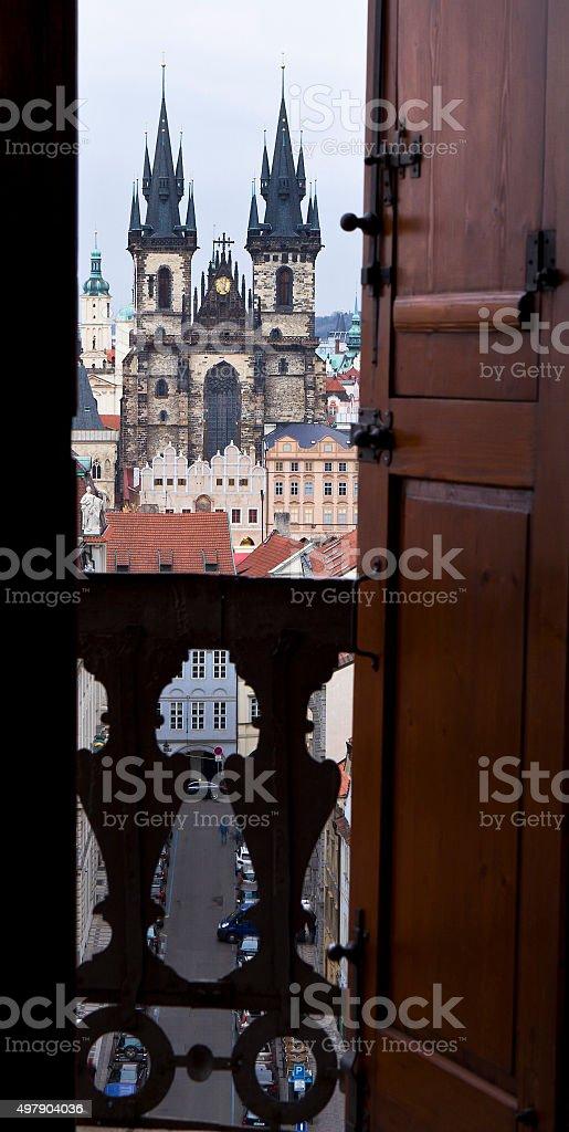 Towers of Prague stock photo