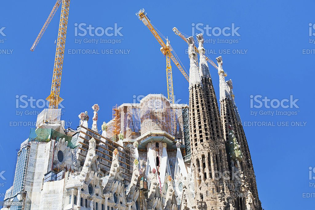 towers of Sagrada Familia basilica in Barcelona royalty-free stock photo