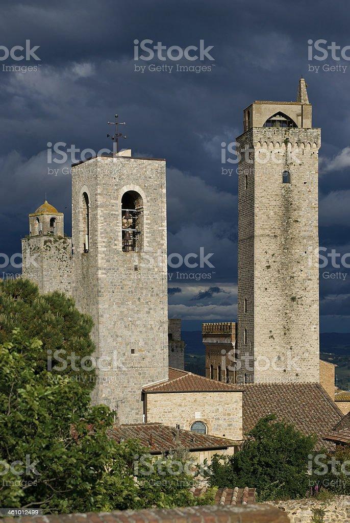 Towers of  San Gimignano Hill Town, Tuscany, Italy stock photo