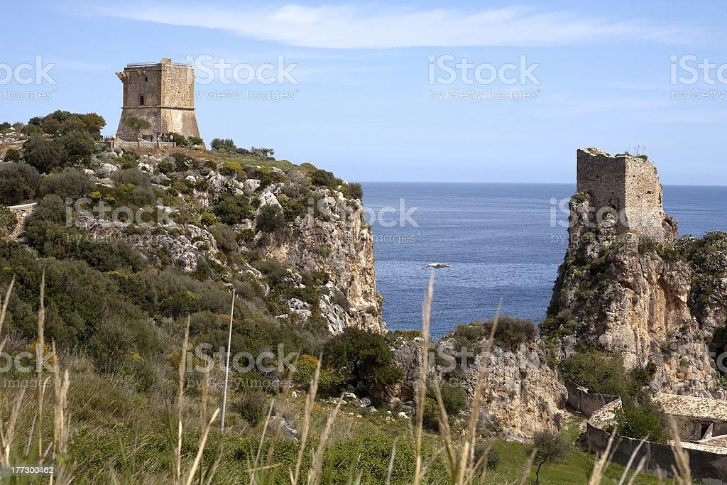 towers of Scopello, Sicily, Italy royalty-free stock photo