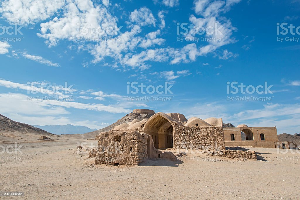 Towers of silence in Yazd, Iran stock photo