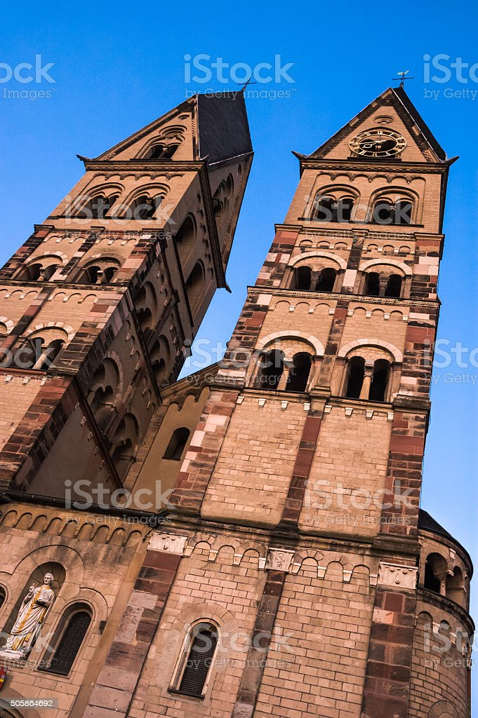 Towers of St. Castor stock photo
