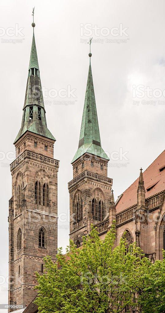 Towers of St. Sebald Church stock photo