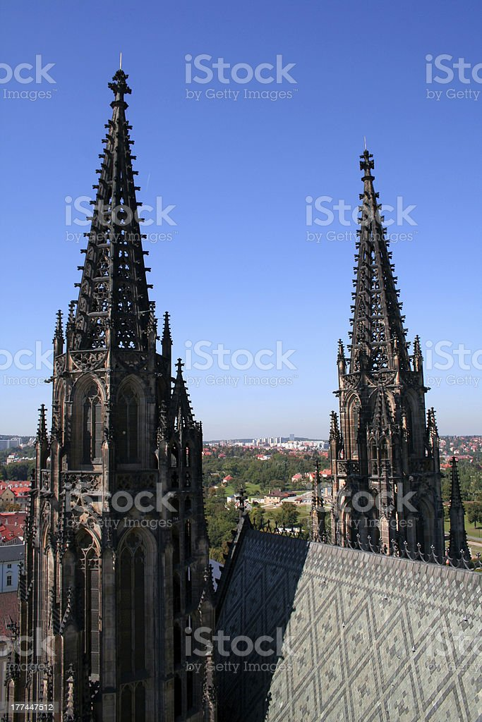 Towers of St. Vitus cathedral royalty-free stock photo
