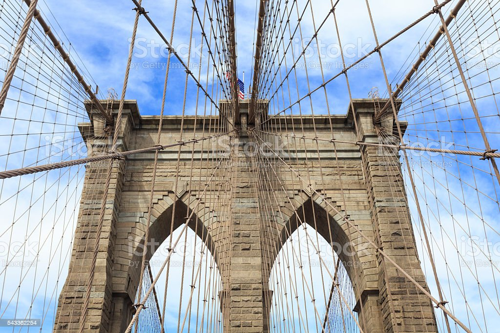 Towers of the Brooklyn bridge with suspension cables stock photo