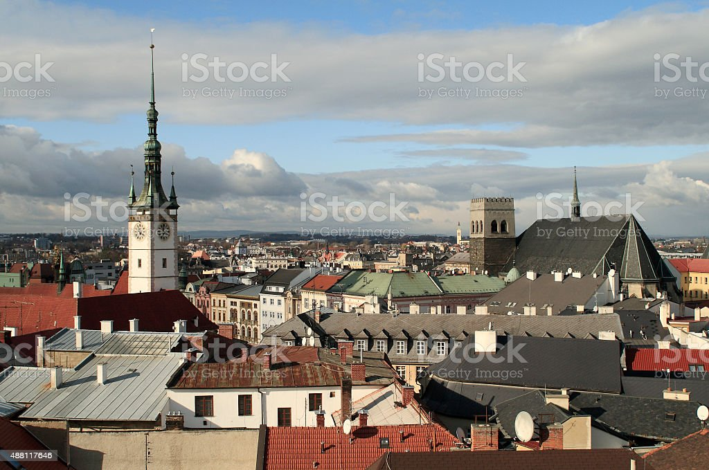 Towers of the Olomouc city stock photo