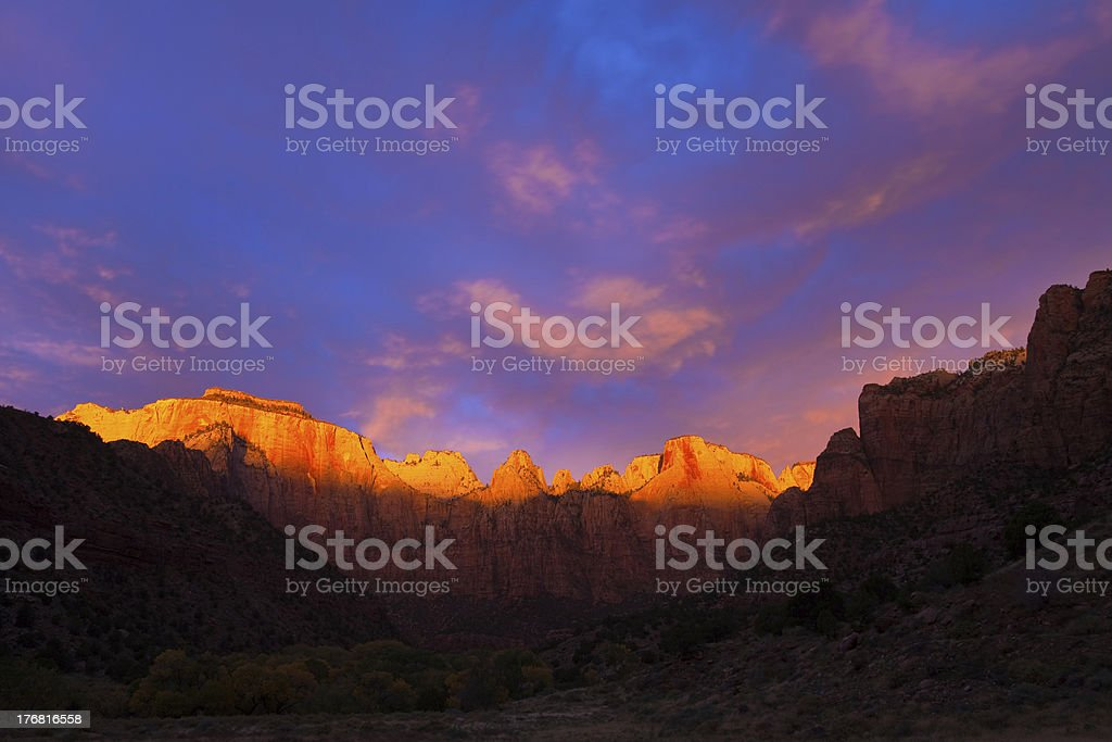 Towers of the Virgin Sunrise royalty-free stock photo