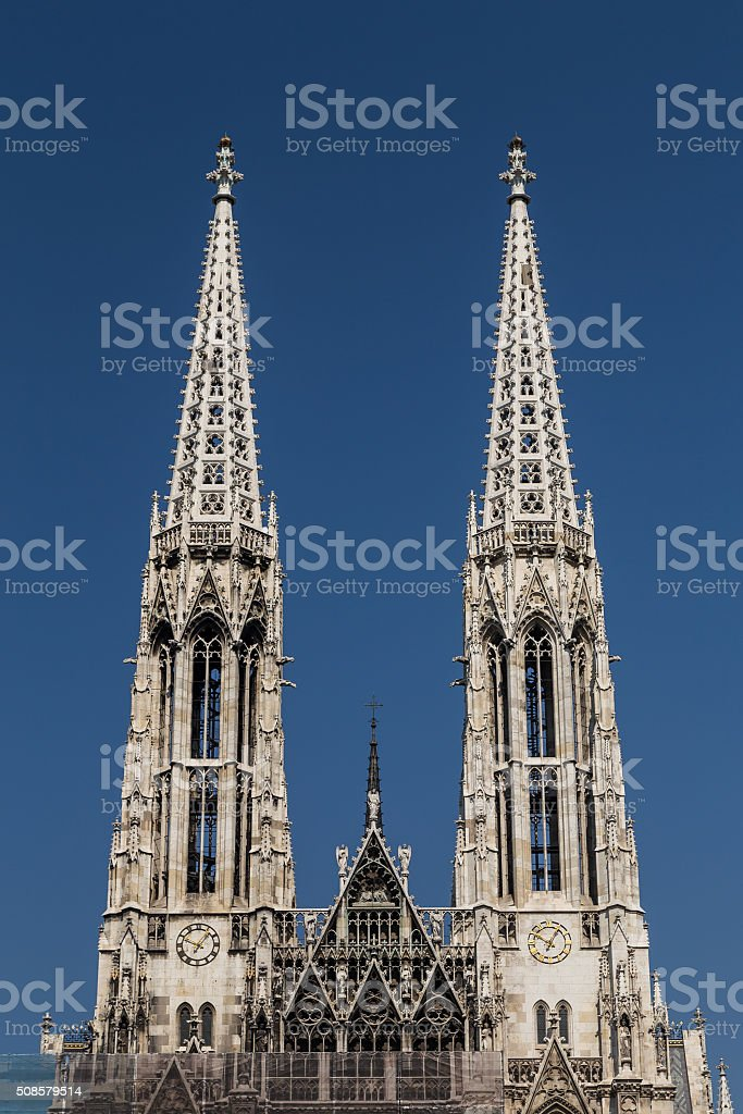 Towers on the Votive Church in Vienna stock photo