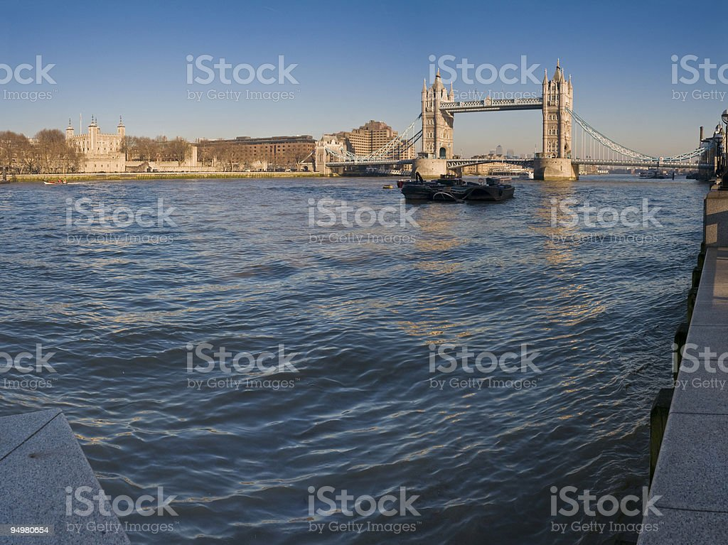 Towers over blue Thames London royalty-free stock photo