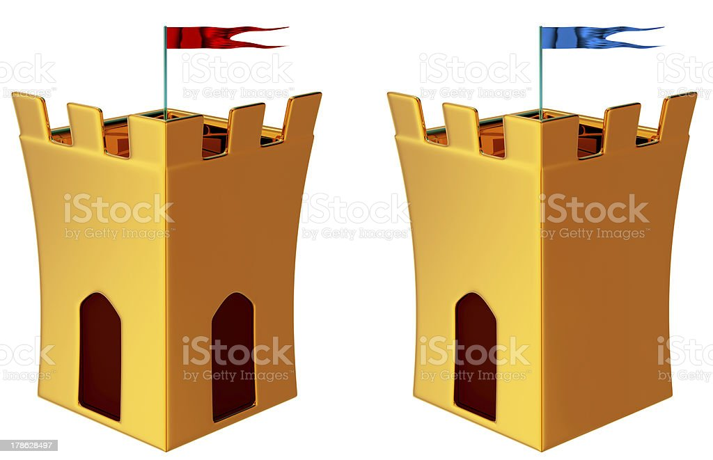 Towers with flags stock photo