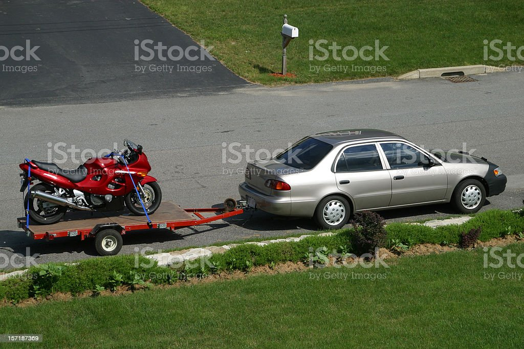 Towing a Motorcycle stock photo