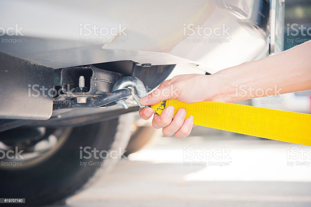 towing car with towing rope stock photo