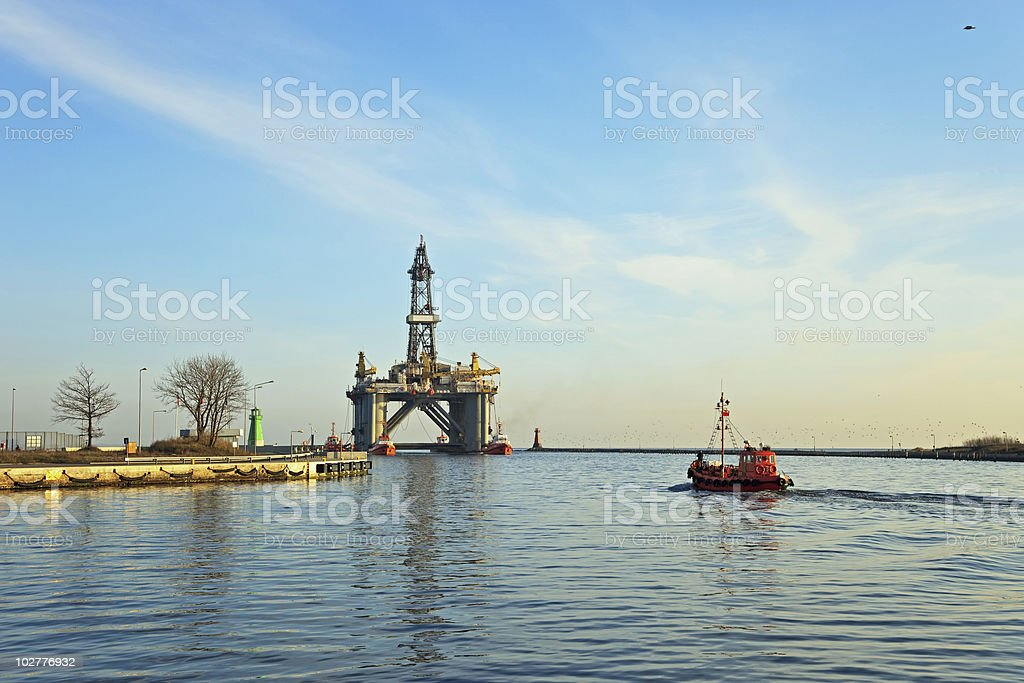 Towing platform in port royalty-free stock photo