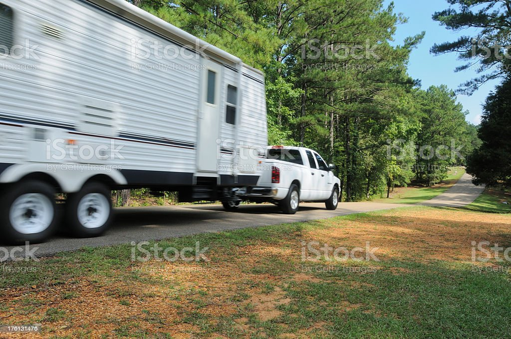 Towing RV royalty-free stock photo
