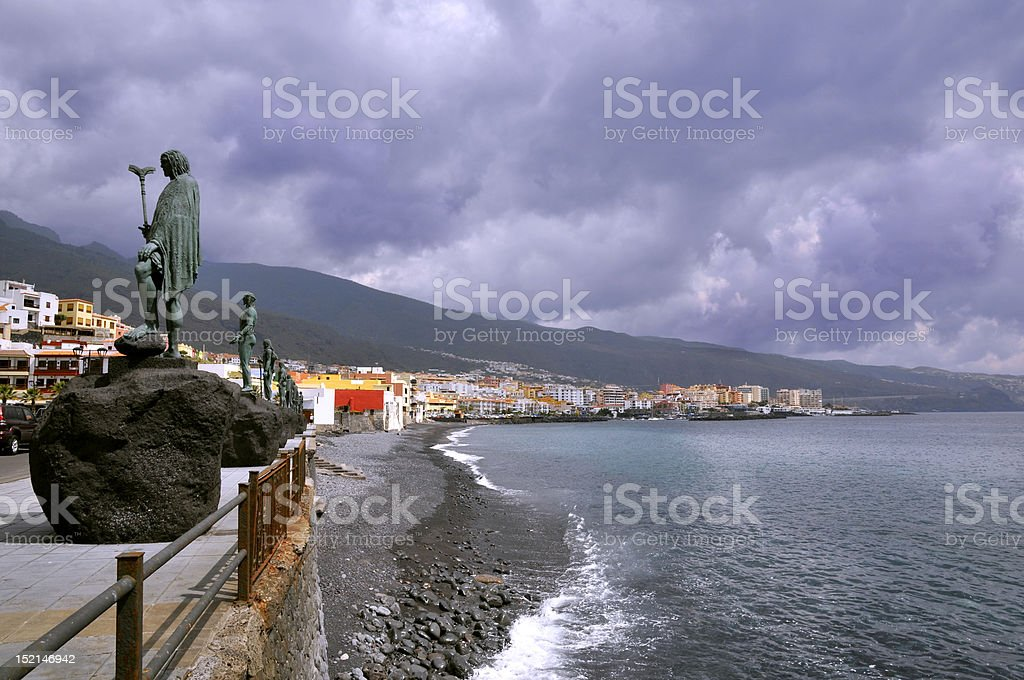 Town and beach of Candelaria at Tenerife stock photo