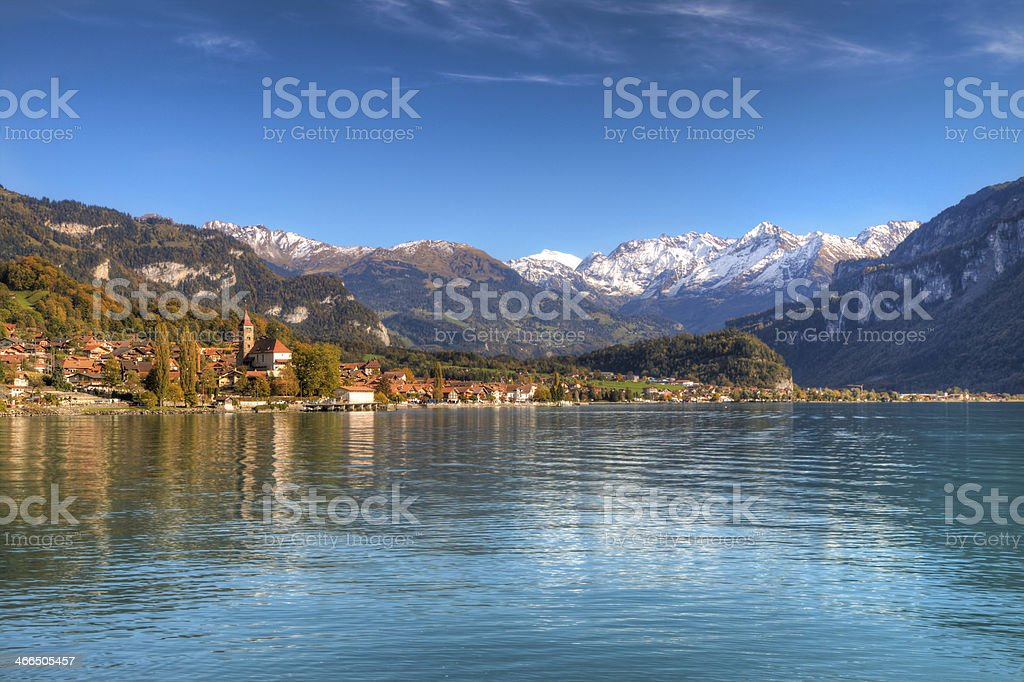 Town and Lake Brienz in beautiful autumn weather, Switzerland royalty-free stock photo