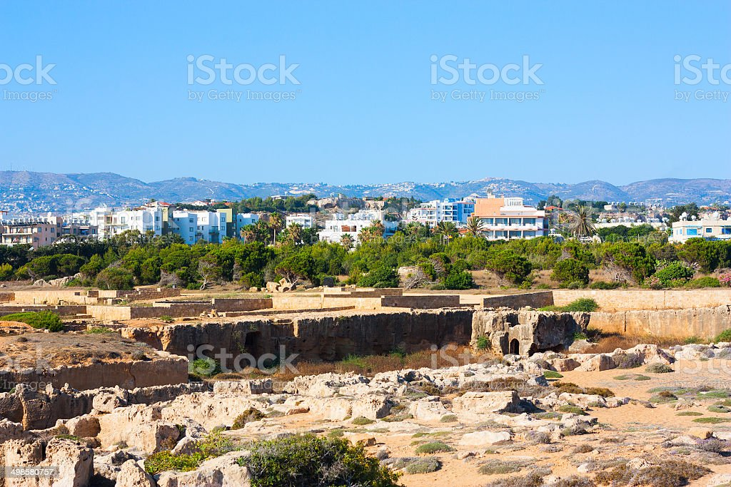 Town buildings view, Paphos and ancient Tombs of the Kings stock photo