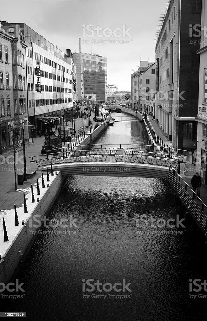 town by river stock photo