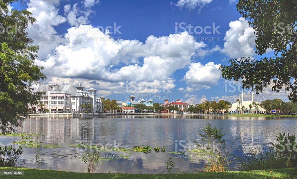 Town Center overlooking a Lake on a beautiful day stock photo
