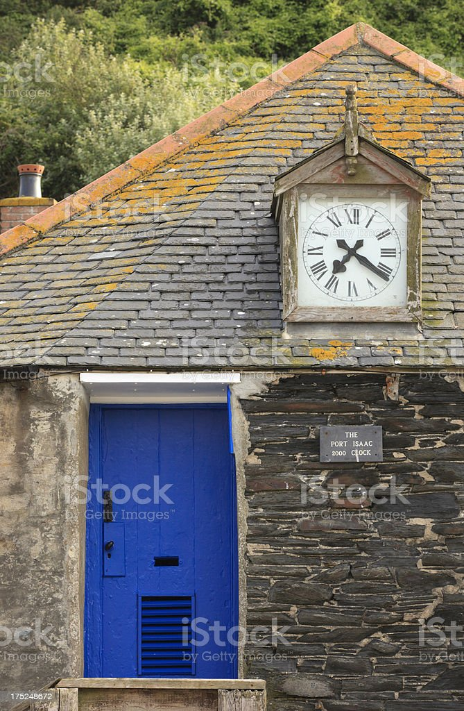 town clock alongside the harbour in Port Isaac royalty-free stock photo