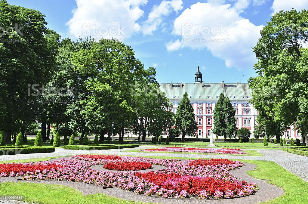 Town council and Chopin's Park in Poznan, Poland stock photo