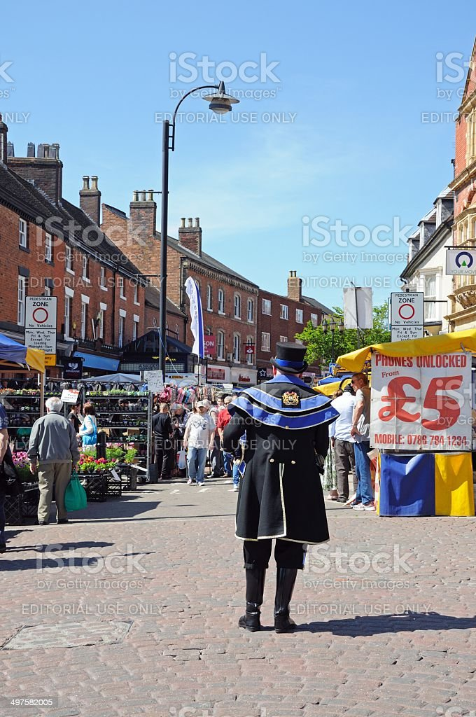 Town crier and market, Tamworth. stock photo