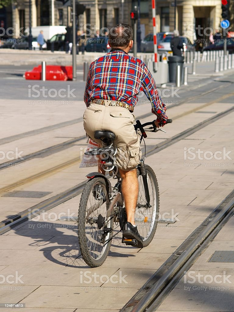 Town Cyclist getting to work. royalty-free stock photo