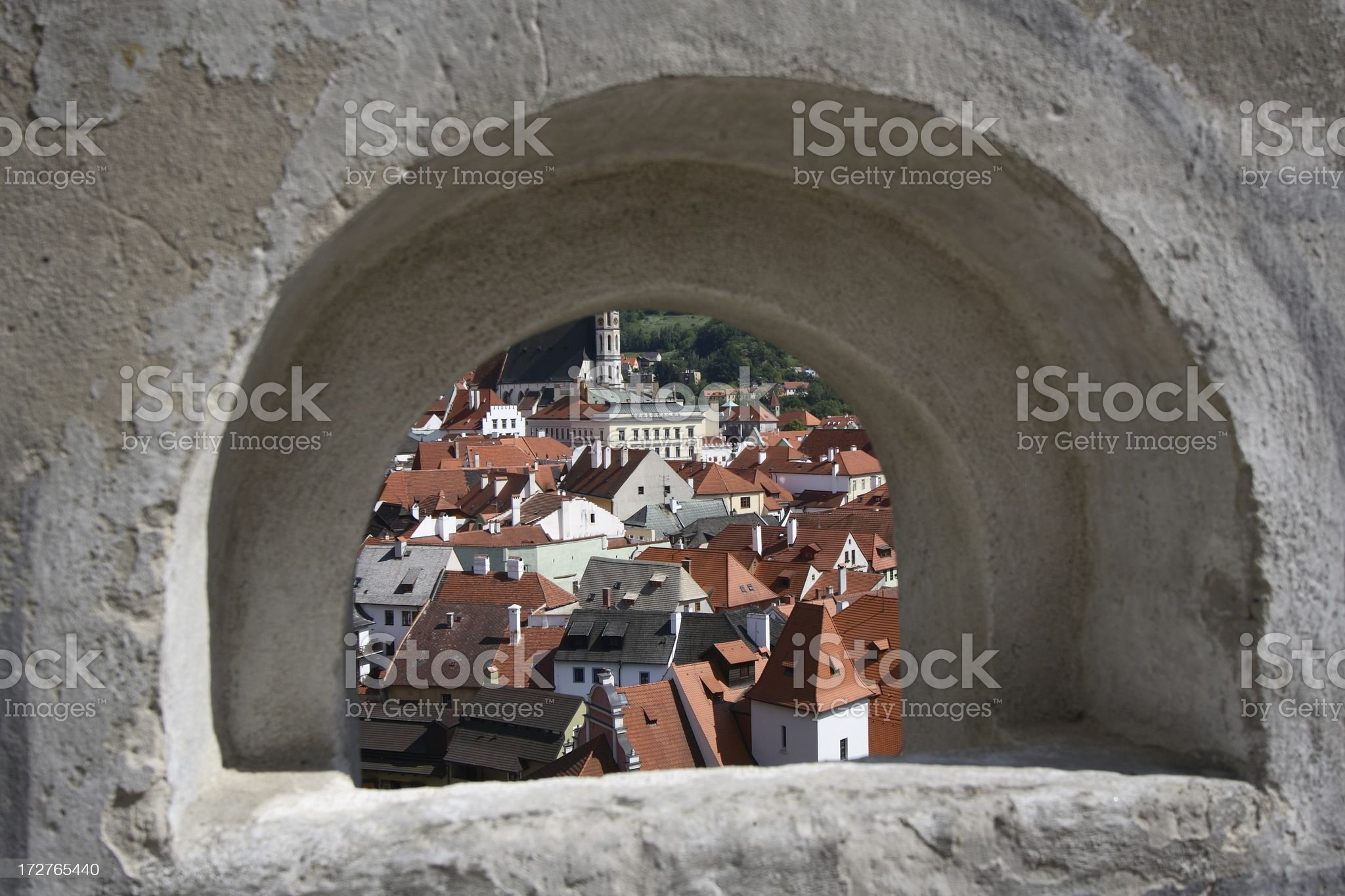 Town framed by stone window royalty-free stock photo