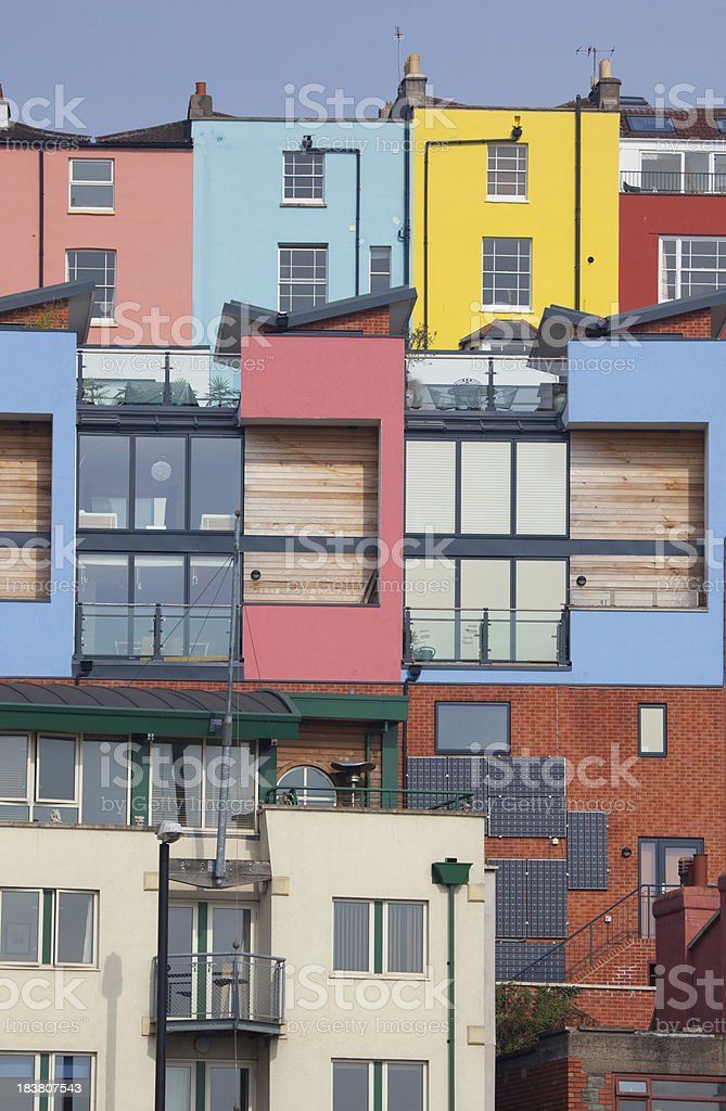 Town full of colorful old and new houses stock photo