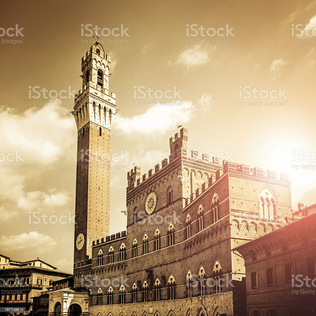Town Hall against Sunlight in Siena, Italy stock photo