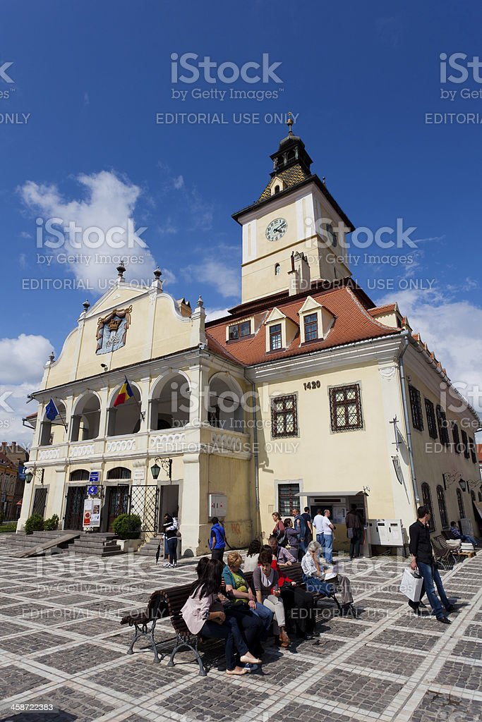 Town Hall and City Square, Brasov, Romania stock photo