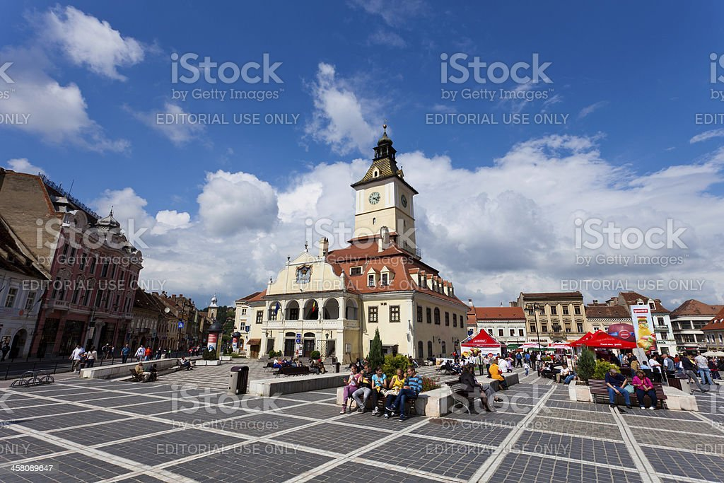 Town Hall and City Square in Brasov, Romania stock photo