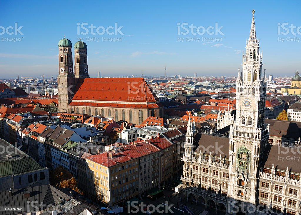 town hall and Frauenkirche Munich, Germany royalty-free stock photo