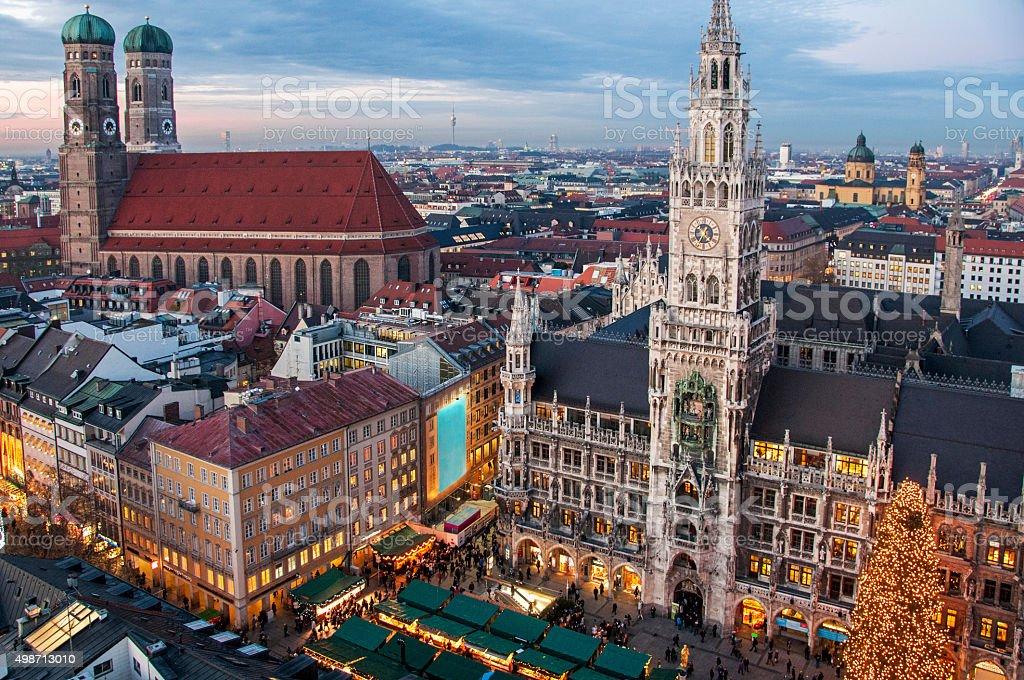 Town Hall and Frauenkirche Munich stock photo