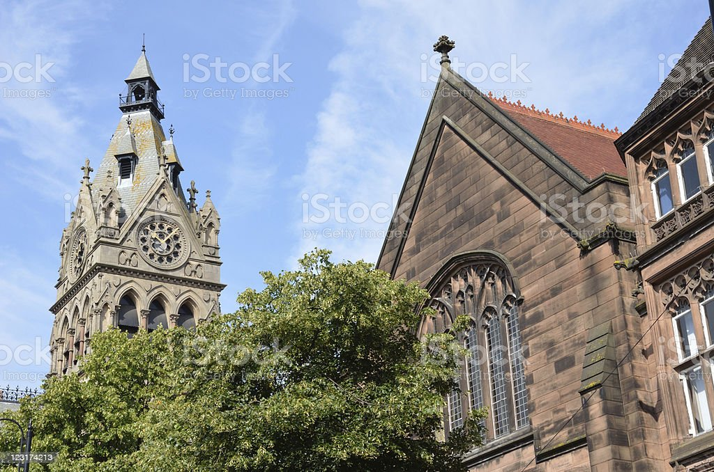 Town Hall and Old Sandstone Building in Chester City royalty-free stock photo