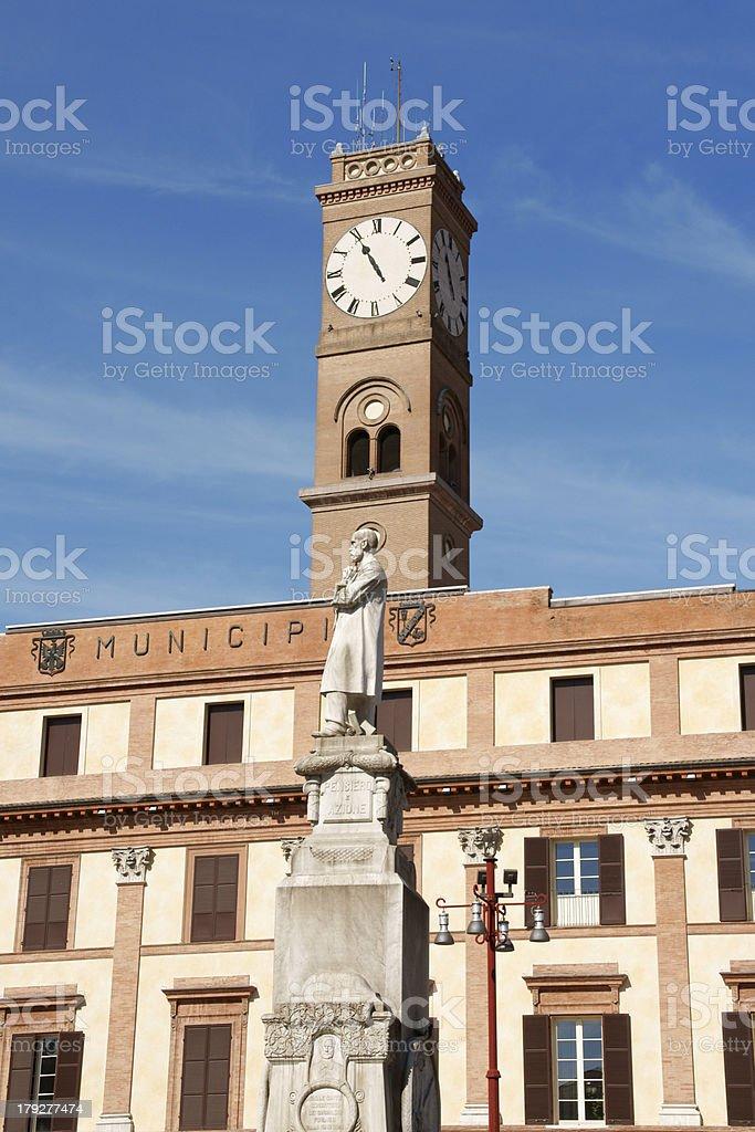 Town Hall and Piazza Aurelio Saffi in ForlA stock photo
