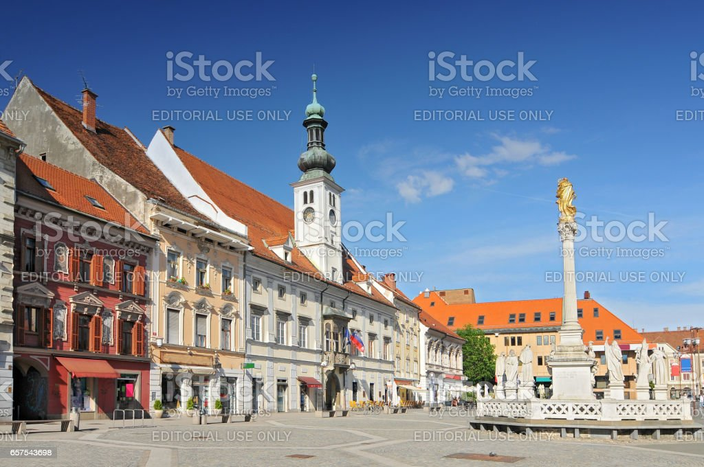 Town Hall and Plague Monument. stock photo