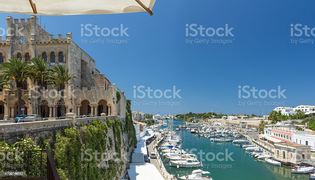 Town hall and port of Ciutadella, Menorca stock photo