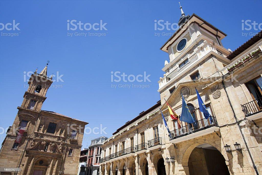 Town hall and San Isidoro church in Oviedo stock photo