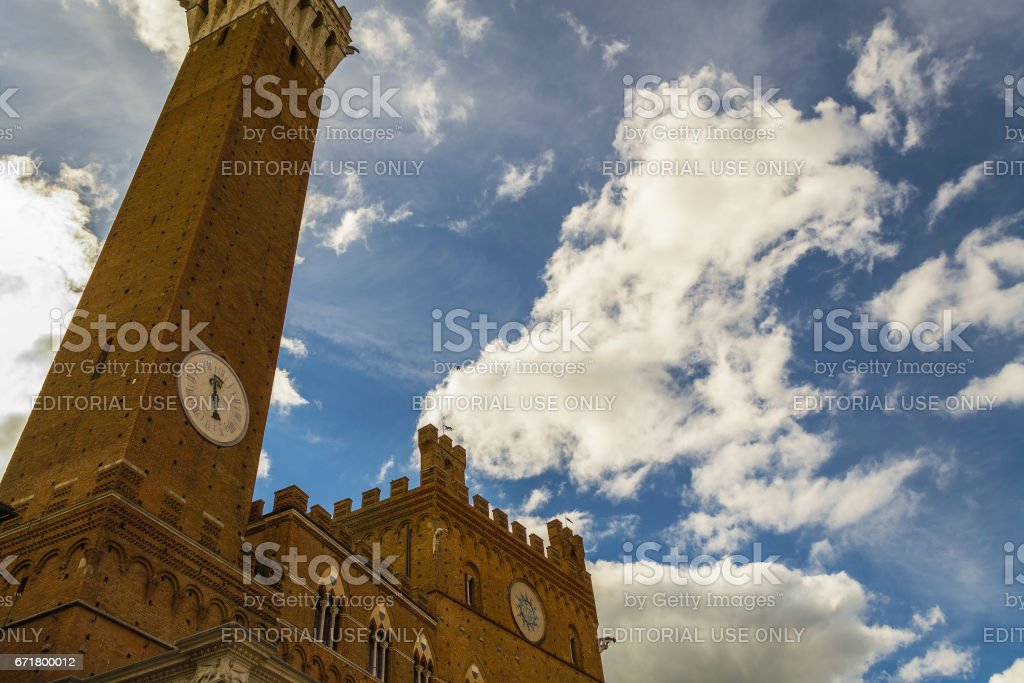 Town Hall and Torre del Mangia in Siena (Tuscany, Italy) stock photo