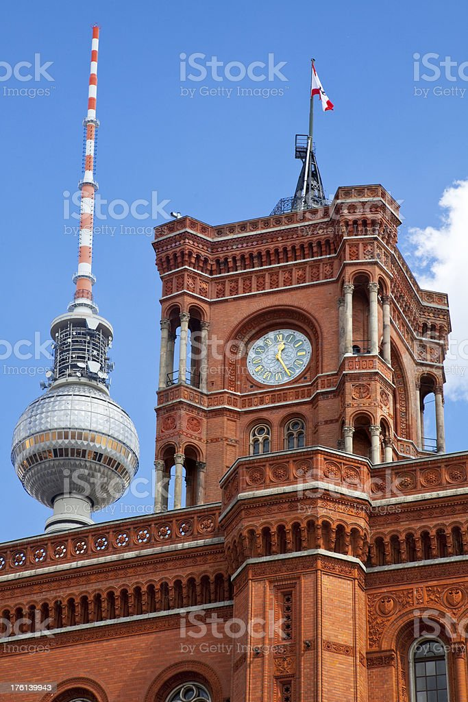 Town hall and TV tower in Berlin royalty-free stock photo