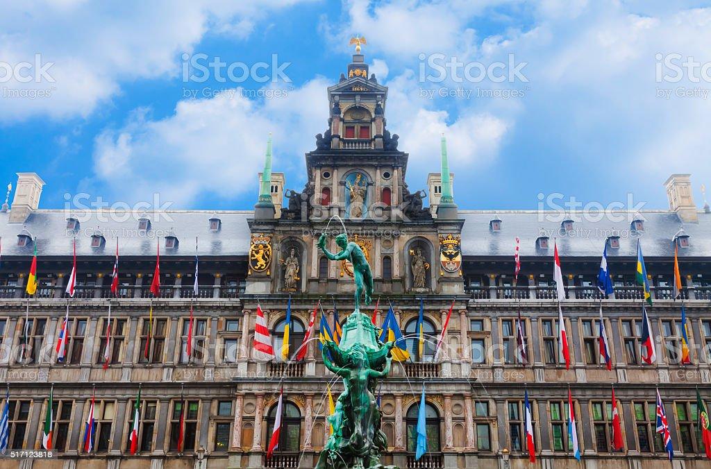 Town Hall Antwerp stock photo