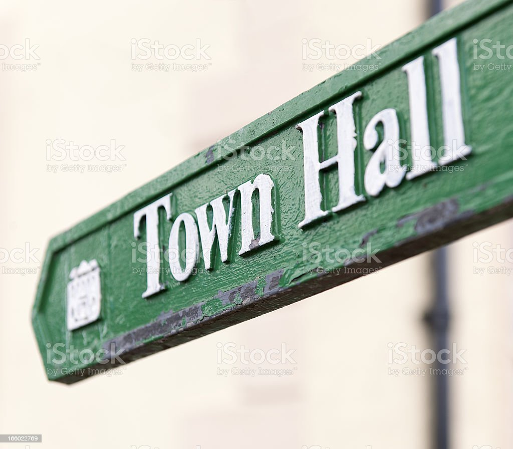 Town Hall Arrow Sign stock photo