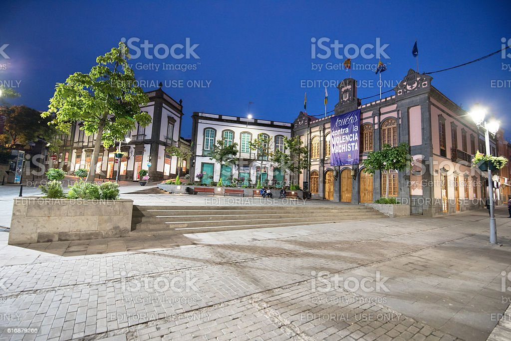 Town hall at dusk in Arucas, Gran Canaria, Spain. stock photo