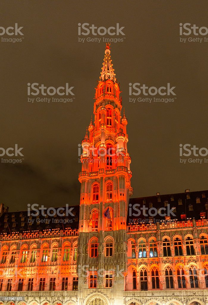 Town Hall at the Brussels Grand Place at night stock photo