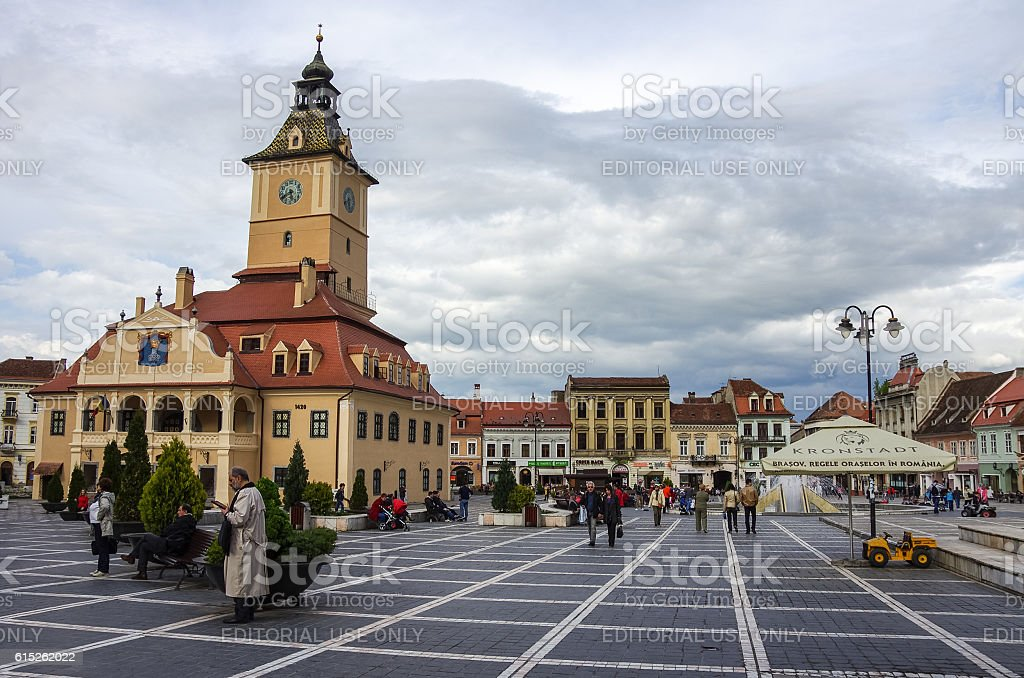 Town hall building in Brasov city Council Square. stock photo